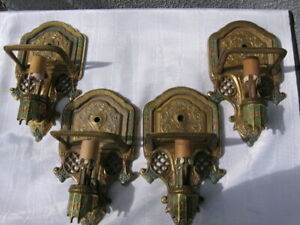 4 Gill Glass Rosemont Brass Wall Sconces No Shades