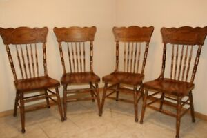 Oak Pressed Back Solid Bottom Dining Chairs