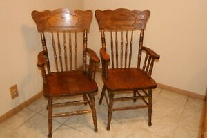 Antique Tall Pressed Back Rocking Chair With Arms And Leather Seat Insert