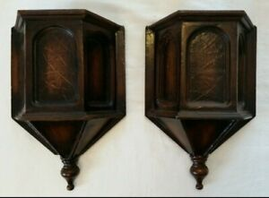 Antique Mission Style Wall Sconce Shelves Corbels Wood Pair