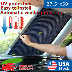 Car Retractable Curtain With Uv Protection Front Windshield Visor Auto Shade Ht