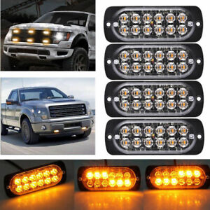 4pcs 12led Amber Warning Emergency Hazard Beacon Dash Strobe Light Bar Fog Light