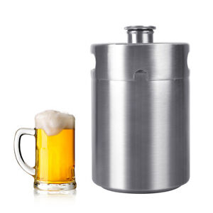 5l Mini Stainless Steel Keg Bottle Growler Craft Beer Bar Barrel Homebrew Holder