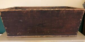 Primitive Collectible Pine Canted Dough Box W Wood Handles Red Paint