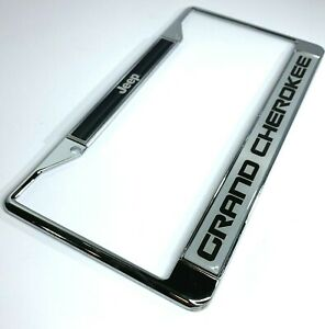 License Plate Frame Chrome W Large Black Logo For Jeep Grand Cherokee