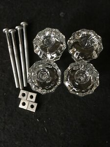 Lot Of 4 Antique Vintage Clear Glass Ten Sided Cabinet Knob Drawer Pulls Sm 1