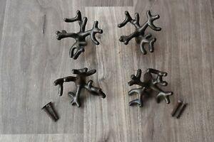 Vintage Iron Door Knobs Old Cast Cabinet Drawer Handles Pull Rustic Knobs 4 Pcs