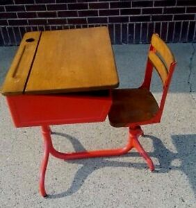 Antique American Seating Company Children S School Desk Red