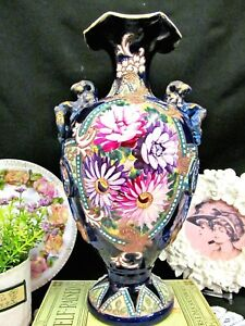 Nippon Large Vase Painted With Foo Dog Handles Bow Beaded Cobalt Blue Urn