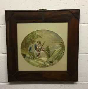 Antique Georgian Silk Embroidery Of Man And Shepheardess In Rosewood Frame