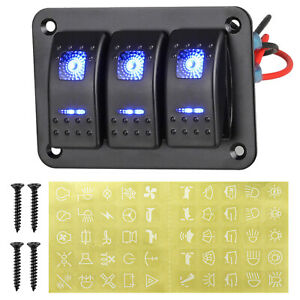3 Gang Rocker Switch Panel Circuit Breaker Led Voltmeter Rv Car Marine Boat 12v