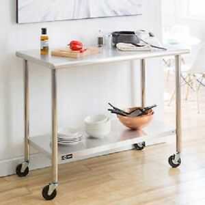 Kitchen Stainless Steel Rolling Prep Table With Adjustable Shelf Caster Wheels