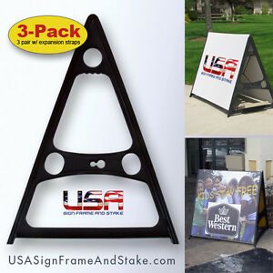 A frame Sidewalk Sign Stand holds 18 x24 To 36 x60 Substrates 3 pack
