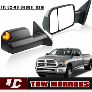 Pair Tow Mirrors Power Heated W Signal Fit 2002 2008 Dodge Ram 1500 2500 3500