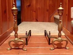 Antique 17 5 Tall Brass Andirons Cast Iron Firedogs Federal Style Numbered
