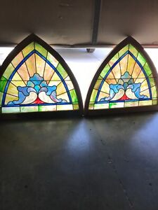 An 2 Available Price Separate Antique Arch Stained Glass Window 47 5 X 41h