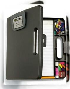 Officemate Portable Clipboard Case With Calculator Gray 83372