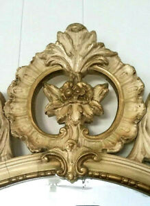 Omg Large 45 Vintage French Provincial Scrolled Wall Mirror Chic Shabby Gesso