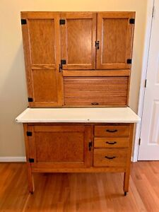 Vintage Antique Oak Hoosier Cabinet W Flour Bin Tin Breadbox Drawer