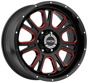 Sierra Silverado Gloss Black Red Rims 25mm 6x139 7 6x5 5 Set Of 4 Wheels 18