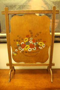Antique Painted Wooden Fireplace Screen Arts Crafts Floral Scene