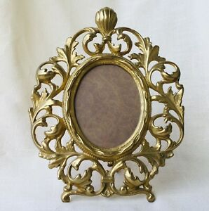 Ornate Brass Picture Photo Frame Oval Art Nouveau 8 5x11 Fancy Boudoir Vintage