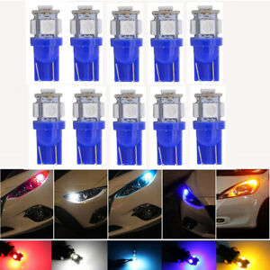 10x T10 Blue 5050 5smd Led Bulbs Car Read Wedge Side Light 194 168 W5w 2825 12v