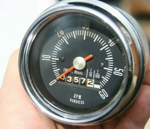 Vintage 6k 6000 Rpm Stewart Warner Tachometer With Hours Unknown 1964