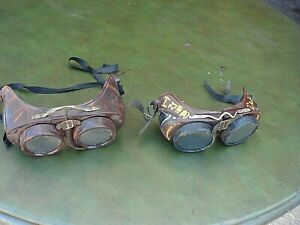 2 Vintage Protective Welder s Bakelite Goggles Glasses Steampunk Movie Prop