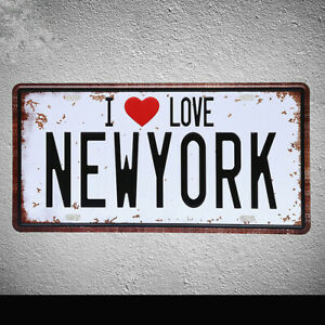 I Love New York Tin Poster Vintage Metal Sign Car Plate Wall Decor Plaque 12