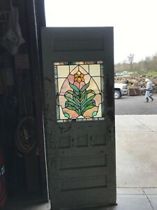 An536 Antique Stained Glass Door 29 75 X 77 5 8