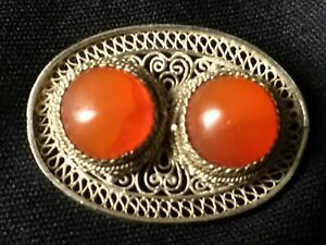 Vintage Chinese Unmarked Silver Filigree Brooch With Carnelian Cabochons