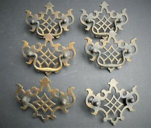 Six Vintage Solid Brass Fancy 2 1 2 Chippendale Drawer Pulls