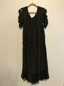 Heavily Beaded Jet Black 1920s Flapper Dress Art Deco Jazz Age As Is Gothic