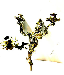 A Vintage Brass Movable 3 Arm Louis Xv Rococo Style Candle Wall Sconce 6 6 Lbs