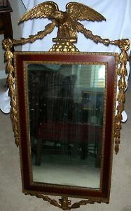 Gorgeous Antique Federal Mahogany Gilt Gold Gesso Eagle Wall Mirror C1820 S