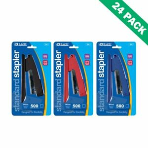 Desk Stapler Staplers Colorful For Office Paper With 500 Staples 24 Units