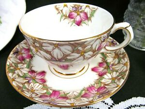 Rosina Tea Cup And Saucer Floral Painted Pink Teacup Pattern English Cup Saucer