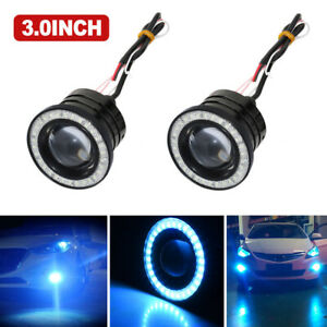3 0 White Angel Eye Light With Ice Blue Halo Rings Car Head Lamp Projector Led