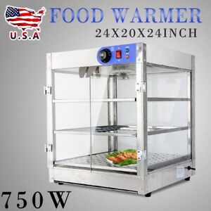 3 tier 20x20x24inch Commercial Countertop Food Pizza Warmer Display Cabinet Case