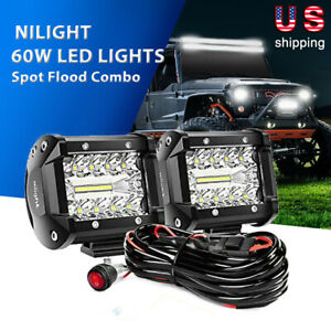 Nilight 4 Inch Led Pods Light 2pcs 60w Spot Flood Combo Beam Tri row Light Bar