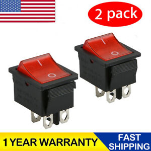 2 Pcs Rocker Switch Dpst On Off Toggle 16 Amp 250v 20 Amp 125v 4 Pin Ec 2604 New
