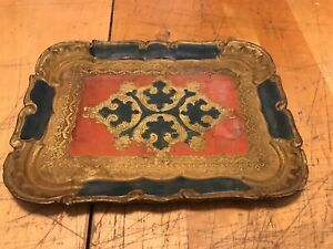 Vintage Italian Florentine Wood Wooden Tole Gilt Tray Gold Blue Red 10 25x7 5
