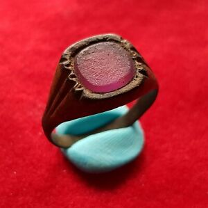 Ancient East Roman Bronze Ring Decorated With Purple Glass Garnet Stone