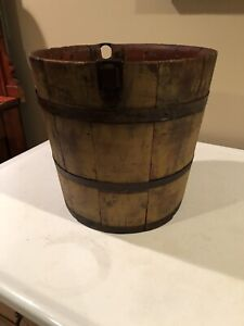 Antique Primitive Wooden Staved Well Bucket With Original Mustard Colored Paint