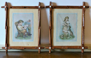 Pair Antique 19th C Criss Cross Glass Buttons Carved Picture Frames Folk Art 11