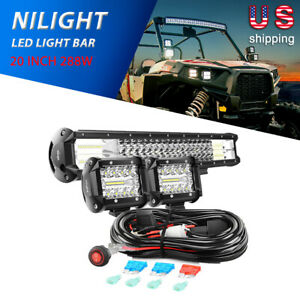 Nilight 20 288w Tri row Combo Work Light Bar 2x4 60w Led Lights Wiring Kit