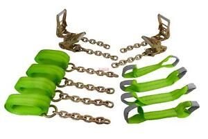 Roll Back Tie Down System Chain Ends 8 Point For Car Hauler Carrier Tow Truck