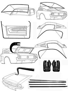 New 1967 1968 Mustang Fastback Deluxe Weatherstrip Seal Kit Windshield Roof