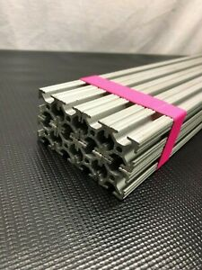 Lot Of 8 80 20 T slot Extruded Aluminum 1 x 1 x 24 3 4 Anodized 10 10